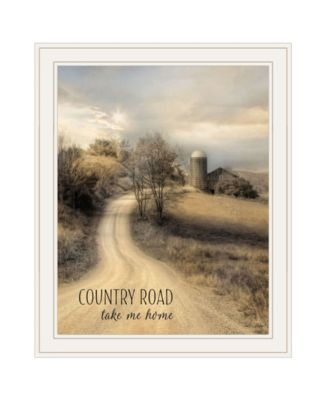 Country Road Take Me by Lori Deiter, Ready to hang Framed Print, White Frame, 19