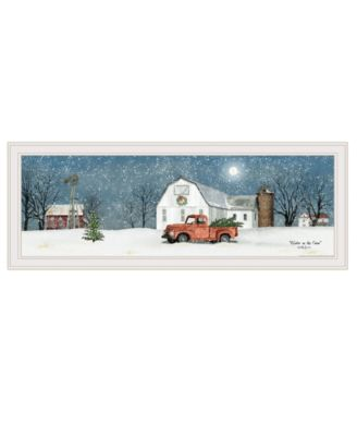 """Winter on The Farm by Billy Jacobs, Ready to hang Framed Print, White Frame, 39"""" x 15"""""""