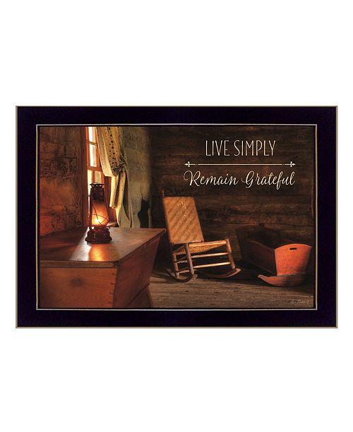 "Trendy Decor 4U Trendy Decor 4U Live Simply By Lori Deiter, Printed Wall Art, Ready to hang, Black Frame, 20"" x 14"""