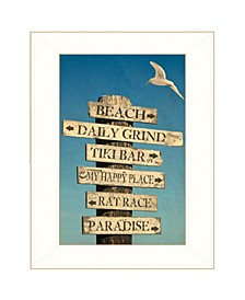 Trendy Decor 4U Beach Directional by Graffitee Studios, Ready to hang Framed Print, White Frame Collection