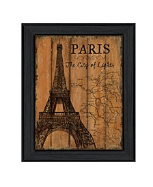 "Paris Travel Poster By Debbie DeWitt, Printed Wall Art, Ready to hang, Black Frame, 14"" x 18"""