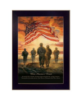 """Bless Americas Heroes By Bonnie Mohr, Printed Wall Art, Ready to hang, Black Frame, 14"""" x 10"""""""