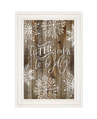"Tis the season Snowflakes by Cindy Jacobs, Ready to hang Framed Print, White Frame, 11"" x 15"""