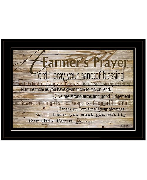 "Trendy Decor 4U Trendy Decor 4U A Farmer's Prayer by Cindy Jacobs, Ready to hang Framed Print, Black Frame, 21"" x 15"""