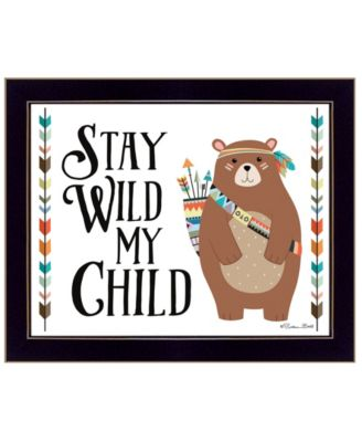 """Stay Wild My Child By Susan Boyer, Printed Wall Art, Ready to hang, Black Frame, 14"""" x 18"""""""