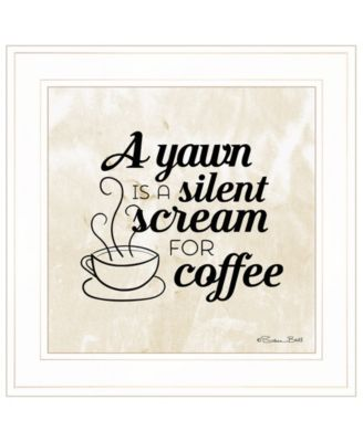 """A Silent Scream for Coffee by SUSAn Ball, Ready to hang Framed Print, White Frame, 15"""" x 15"""""""