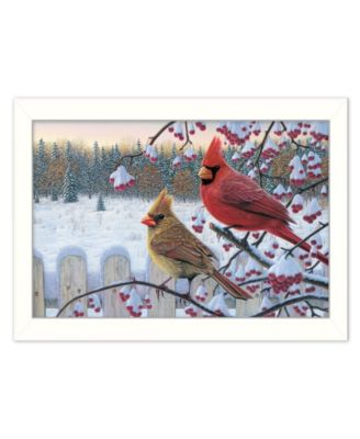 """Cardinals by Kim Norlien, Ready to hang Framed Print, White Frame, 20"""" x 14"""""""