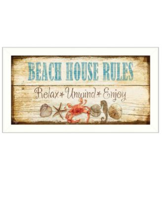 """Beach House Rules By Mollie B., Printed Wall Art, Ready to hang, White Frame, 11"""" x 20"""""""