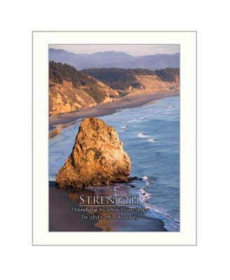 """Strength By Trendy Decor4U, Printed Wall Art, Ready to hang, White Frame, 14"""" x 10"""""""