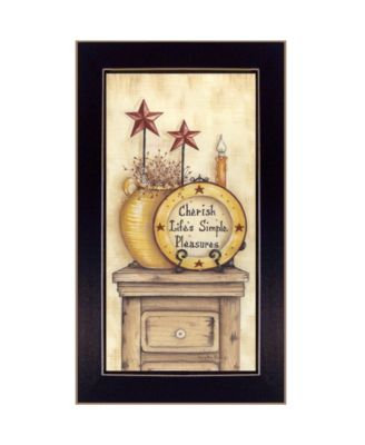 """Simple Pleasures By Mary June, Printed Wall Art, Ready to hang, Black Frame, 18"""" x 10"""""""