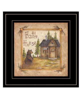 "Bath House by Mary Ann June, Ready to hang Framed Print, Black Frame, 13"" x 13"""