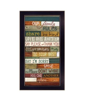 """Our Family Rules By Marla Rae, Printed Wall Art, Ready to hang, Black Frame, 11"""" x 20"""""""