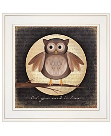 "Trendy Decor 4U Owl You Need is Love by Marla Rae, Ready to hang Framed Print, White Frame, 15"" x 15"""