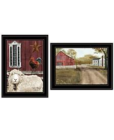 "Trendy Decor 4U Good Morning 2-Piece Vignette by Billy Jacobs, Black Frame, 19"" x 15"""