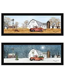 "Billy Jacobs Seasonal-Autumn/Winter 2-Piece Vignette, Black Frame, 39"" x 15"""