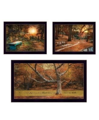 """Tranquil Spaces 3-Piece Vignette by Robin-Lee Vieira, Black Frame, 32"""" x 18"""""""