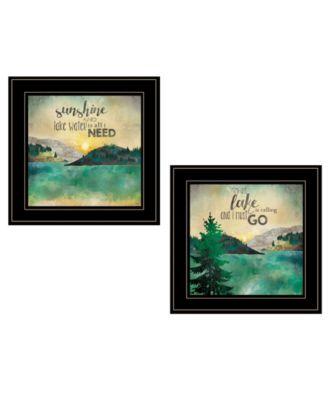"Lake / Sunshine 2-Piece Vignette by Marla Rae, Black Frame, 15"" x 19"""