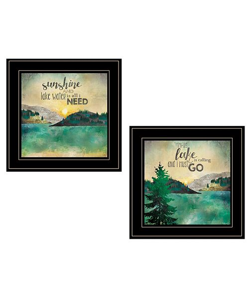 "Trendy Decor 4U Trendy Decor 4U Lake / Sunshine 2-Piece Vignette by Marla Rae, Black Frame, 15"" x 19"""