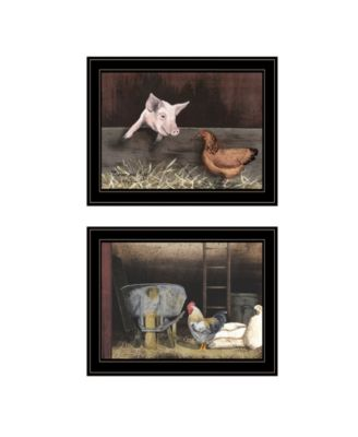 """Bacon Eggs 2-Piece Vignette by Billy Jacobs, Black Frame, 19"""" x 15"""""""
