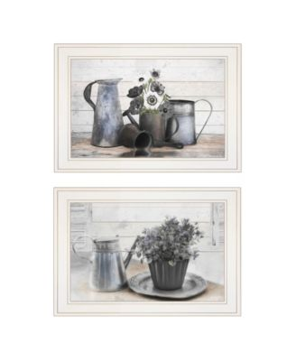 Floral with Tin Ware 2-Piece Vignette by Robin-Lee Vieira, White Frame, 21