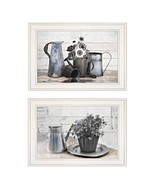 """Floral with Tin Ware 2-Piece Vignette by Robin-Lee Vieira, White Frame, 21"""" x 15"""""""