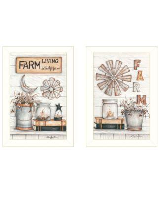 "Farm Living 2-Piece Vignette by Mary Ann June, White Frame, 14"" x 20"""