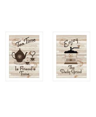 "Enjoy Tea Time 2-Piece Vignette by Millwork Engineering, White Frame, 14"" x 10"""