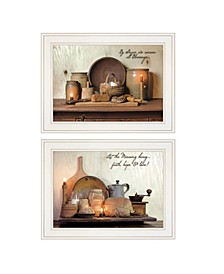 """By Grace 2-Piece Vignette by Susie Boyer, White Frame, 19"""" x 15"""""""