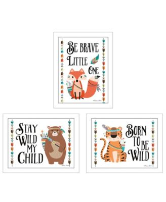"""Be Brave Little One Collection By Susan Boyer, Printed Wall Art, Ready to hang, White Frame, 18"""" x 14"""""""