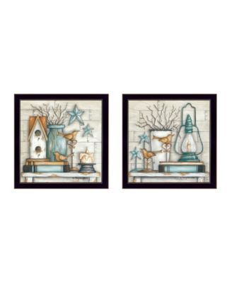 """Mary's Country Shelf Collection By Mary June, Printed Wall Art, Ready to hang, Black Frame, 28"""" x 14"""""""
