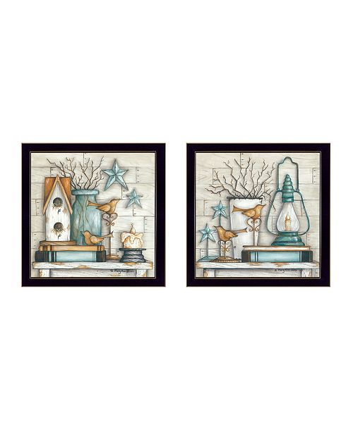 "Trendy Decor 4U Trendy Decor 4U Mary's Country Shelf Collection By Mary June, Printed Wall Art, Ready to hang, Black Frame, 28"" x 14"""