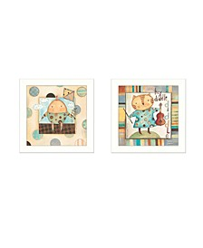 "Nursery Pictures Collection By Bernadette Deming, Printed Wall Art, Ready to hang, White Frame, 28"" x 14"""