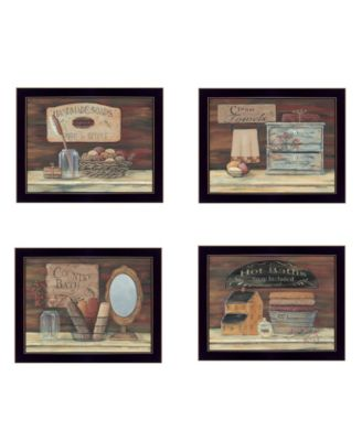 Bathroom Collection II 4-Piece Vignette by Pam Britton, Black Frame, 17