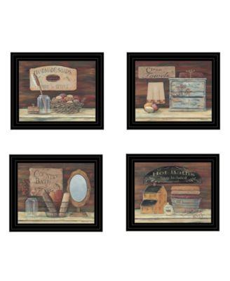 "BATHROOM COLLECTION I 4-Piece Vignette by Pam Britton, Black Frame, 17"" x 14"""