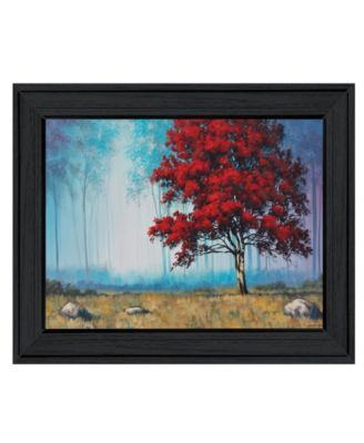 """Red Tree by Tim Gagnon, Ready to hang Framed Print, Black Frame, 19"""" x 15"""""""
