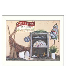 """Seafood Shack By Pam Britton, Printed Wall Art, Ready to hang, White Frame, 12"""" x 16"""""""