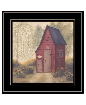 Folk Art Outhouse II by Pam Britton, Ready to hang Framed Print, Black Frame, 15