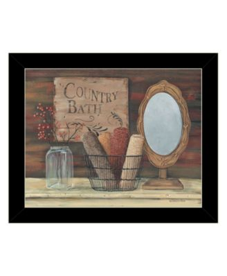 Country Bath by Pam Britton, Ready to hang Framed Print, Black Frame, 16