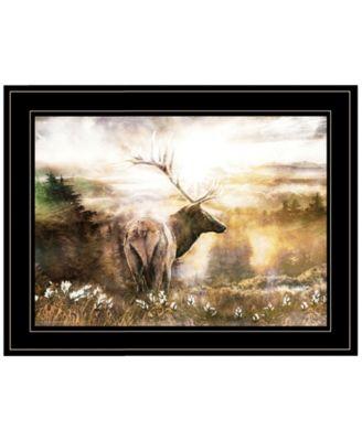 "Heading Home-Elk by Bluebird Barn, Ready to hang Framed Print, Black Frame, 19"" x 15"""