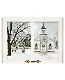 """Trendy Decor 4U I Heard the Bells on Christmas Day by Billy Jacobs, Ready to hang Framed Print, White Window-Style Frame, 19"""" x 15"""""""