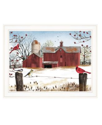 """Winter Friends by Billy Jacobs, Ready to hang Framed Print, White Frame, 27"""" x 21"""""""