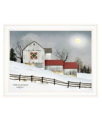 """Christmas Star Quilt Block Barn by Billy Jacobs, Ready to hang Framed Print, White Frame, 27"""" x 21"""""""