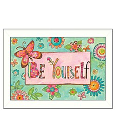 "Trendy Decor 4U Be Yourself By Bernadette Deming, Printed Wall Art, Ready to hang, White Frame, 14"" x 20"""
