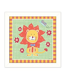 """Beetle and Bob Baby Lion By Annie LaPoint, Printed Wall Art, Ready to hang, White Frame, 14"""" x 14"""""""
