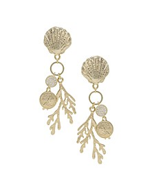 Seaside Shell Coral Earrings