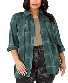 Plus Size Plaid Utility Shirt, Created For Macy's