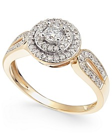 Diamond Double Halo Engagement Ring (3/8 ct. t.w.) in 14k Gold