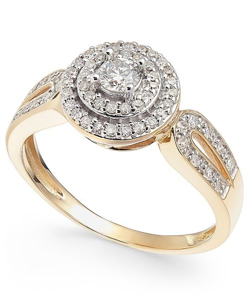 Macy's Diamond Double Halo Engagement Ring (3/8 ct. t.w.) in 14k Gold