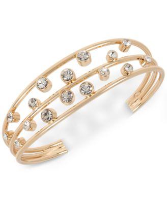 Gold-Tone Metal Crystal Cuff