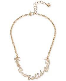 """Gold-Tone Pavé """"You Are Solid Gold"""" Collar Necklace, 15-1/2"""" + 3"""" extender"""